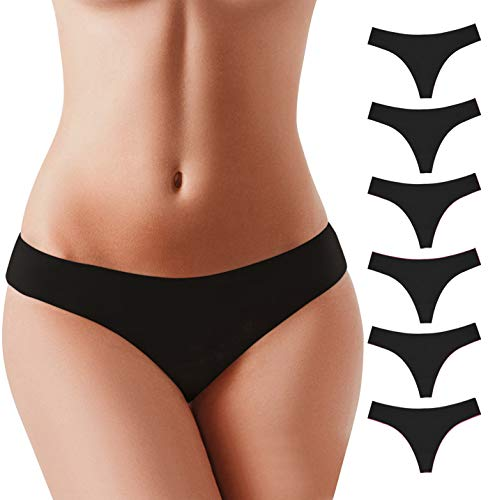 BUBBLELIME XS-XL Sports Thongs for Women Seamless Low Rise Power Pure Stretch No Show Nylon(6 Pack&3 Pack&1 Pack)