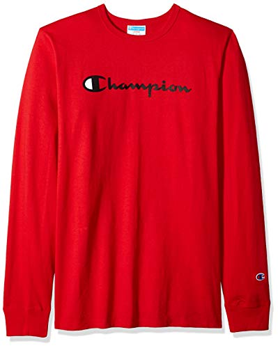 (Champion LIFE Men's Heritage Long Sleeve Tee, Team red Scarlet/Ink Graphic/Script Large)