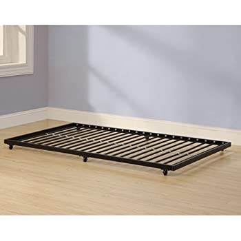 twin roll out trundle bed frame black finish fits under almost any bed
