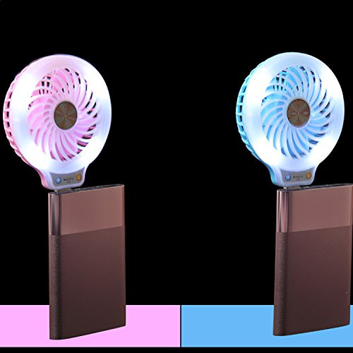 Mini USB Fan with LED Light, Coopsion USB Desk Personal Fan Light Portable Cooling Fan for Power Banks USB Charger Port (Rose) by coopsion (Image #5)