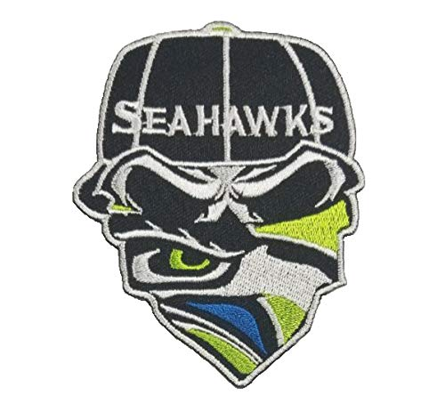 Seattle Seahawks Bandana Iron On Embroidered Patch 3.6 x 2.85 inches -