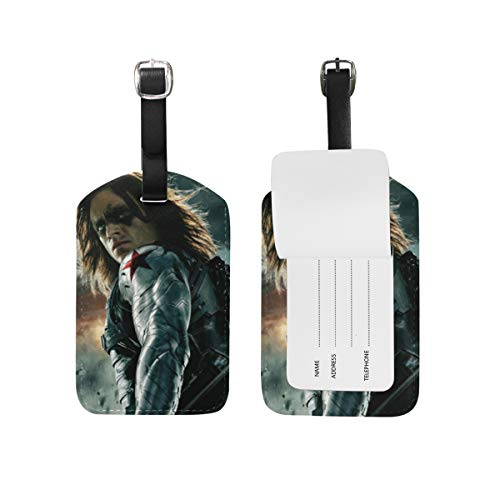 Bucky Barnes Luggage Tags Adjustable Strap Leather luggage tag for Baggage Bags/Suitcases - Name ID Labels Set for Travel -  MACRO