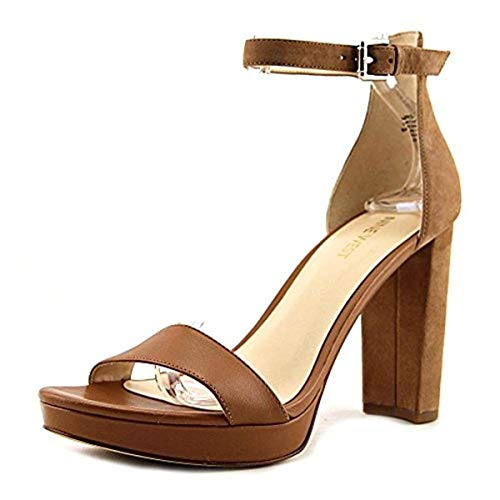 (Nine West Womens Dempsey Open Toe Ankle Strap Wedge Pumps, Tan, Size 8.0)