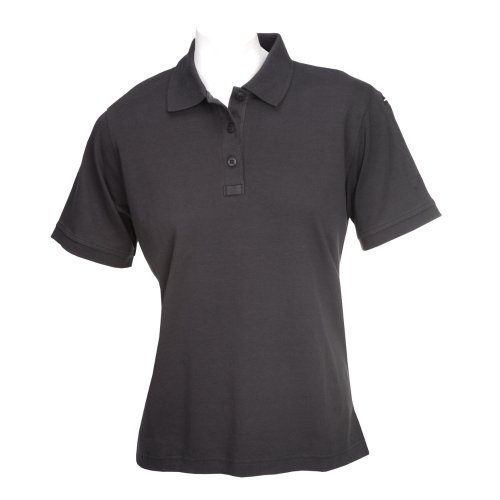 (5.11 Women's TACTICAL Polo Short Sleeve Tactical Shirt, Style 61164, Black, S)