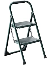 Steel Ladder,ALPURLAD Lightweight 2 Step Folding Step Ladder with Handgrip Anti-Slip Sturdy and Wide Pedal Multi-Use for Household and Office,Handgrip Step Stool ladders(300lbs)