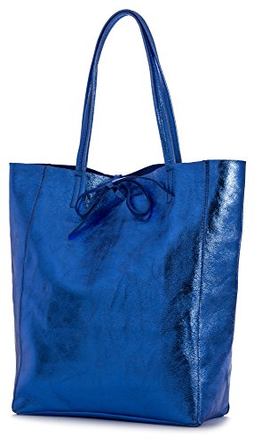 LIATALIA Blue Large Handbag Leather Electric Shopper Shoulder Metallic Hobo Leightweight Soft Tote Genuine ASTRID Italian rvXZgqnr6