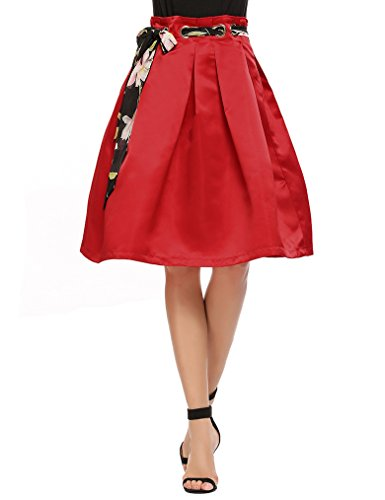 MISELON Women Casual Retro A-Line Pleated Solid Metal Loops Skirt With Belt (Red, XL) (Metal Ruched)