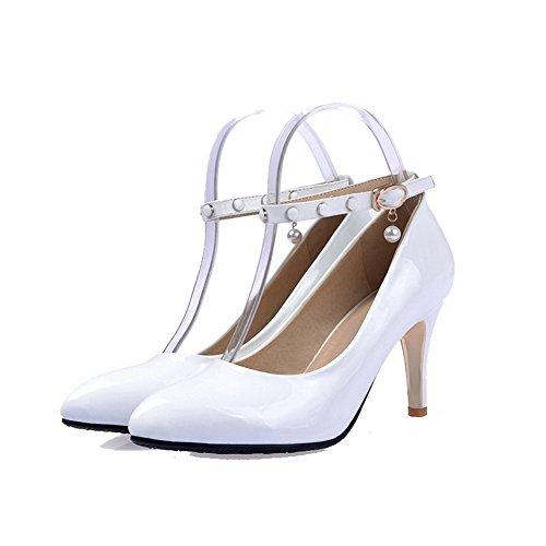 VogueZone009 Damen Spitz Zehe Schnalle PU Leder Rein Hoher Absatz Pumps Schuhe Weiß