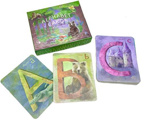 ABC 플래시 카드 26 두꺼운 4X5 알파벳 카드림 인식 유아 유아가 학습 게임 미국에서 제작 감각 재생 WALDORF 몬테소리는 장난감 유아 놀이방 벽 예술 ECO 친절한