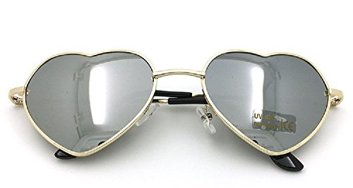 Flowertree Women's S014 Heart Aviator 55mm Sunglasses - Spectacles Round Frames Shaped