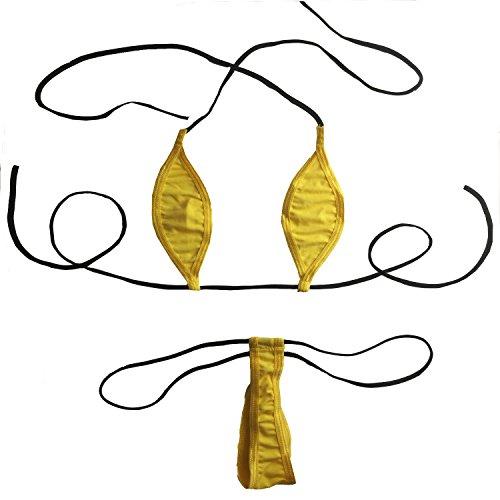 Honanda Women's Sexy Halterneck Extreme Micro Bikini Lingerie Adjustable G-String Panty Beachwear (Yellow)