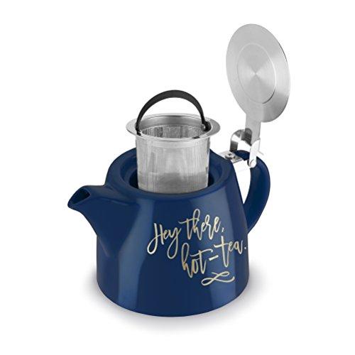 Pinky Up 5389 Harper Posy Tetera e infusor de cerámica, multicolor, Hey There Hot Tea, 1