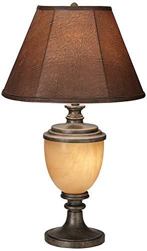 Alberta Antique Bronze Wood Urn Table Lamp with Nightlight ()