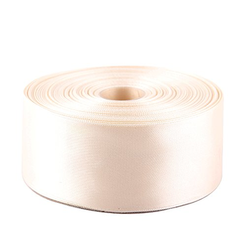 Topenca Supplies 2 Inches x 50 Yards Double Face Solid Satin Ribbon Roll, Ivory ()