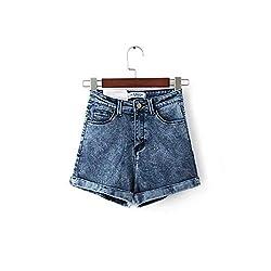 2019 Summer New Wave Fashion Super Elastic High Waist Denim Shorts Women Navy Blue 28