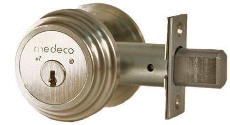 Security Locks Medeco - Medeco 11TR50319 Maxum Residential Single Cylinder Deadbolt, Satin Nickel, High Security Restricted M3 Keyway, Keyed Different