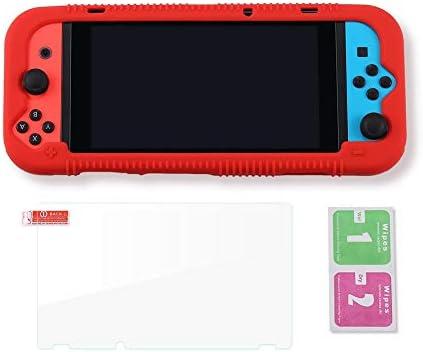 Teyomi - Carcasa de Silicona para Nintendo Switch (Incluye Protector de visualización de Vidrio Templado), Rojo 9