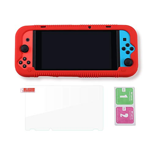 Teyomi Protective Silicone Case for Nintendo Switch, Grip Cover with Tempered Glass Screen Protector, 2 Storage Slots for Game Cards, Shock-Absorption & Anti-Scratch (Red)