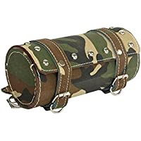 Motoway Bike Leatherette Seat Round Saddle Bag for Royal Enfield Classic 350 (Army Print)