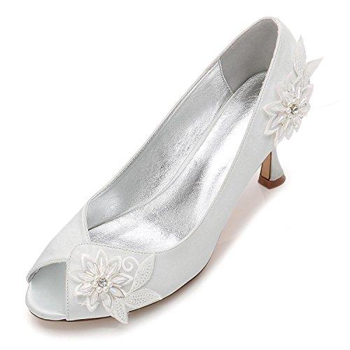 Mujer Señoras Tacón yc Noche Boda La Alto Prom Zapatos Perlas Tamaño Silver Flores L Nupcial Para Plataforma Flor De 5dqXZttw