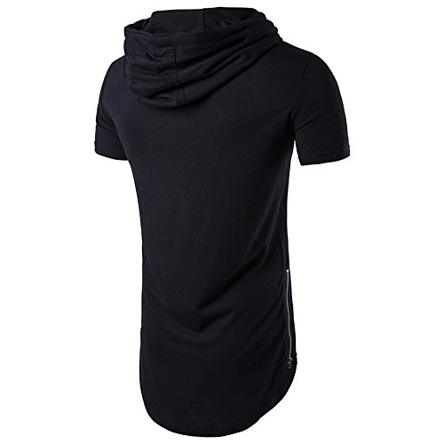 Keybur Mens Hipster Hip Hop Short Sleeve Longline Pullover Side Zipper Hoodies Fashion Sweatshirts (M, Black)
