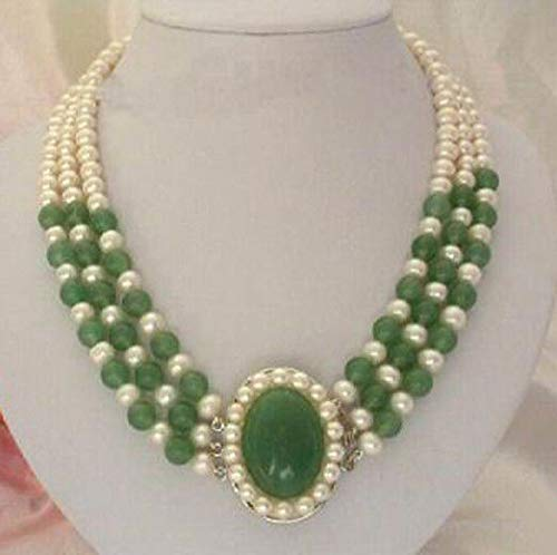 FidgetFidget 3 Rows 7-8mm Genuine White Freshwater Pearl Green Jade Flower Pendant & Necklace