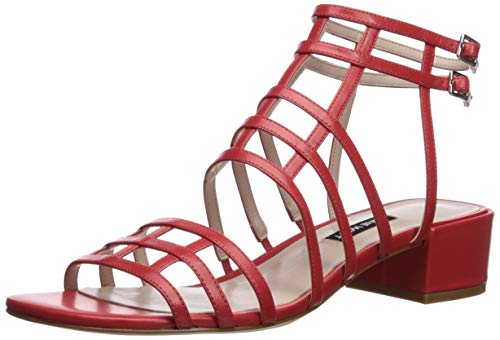 Nine West Women Xerxes Leather Heeled Sandal Red