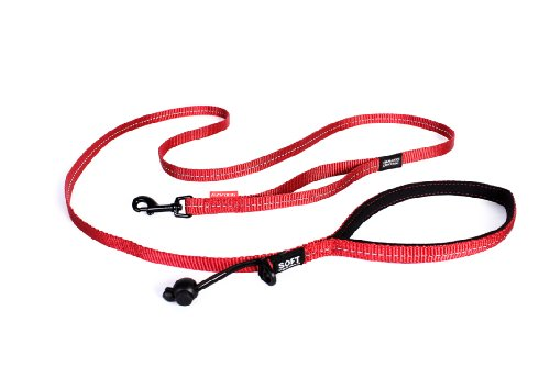 """EzyDog Soft Trainer Dog Leash with Traffic Control Handle - Reflective Stitching for Nighttime Safety and Superior Strength and Comfortability for Training Small Dogs (Under 26 lbs) (72"""", Red)"""