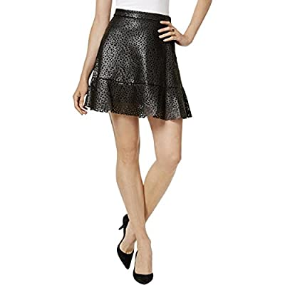 MICHAEL Michael Kors Womens Faux Leather Laser Cut A-Line Skirt