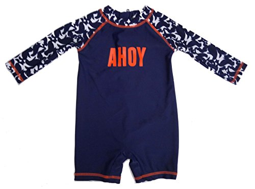 long Sleeve Swimming Costume Floral Swimsuits Baby Girls & Boys (12-18month, Blue)