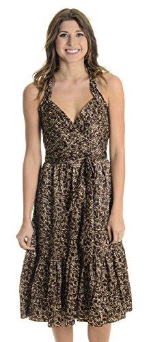 BCBGMAXAZRIA Women's Silk Charmeuse Halter Dress, Mahogany Brown, ()