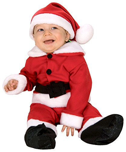 Rubie's Costume Fleece Baby Santa Romper Costume and Hat, Red/White, Newborn
