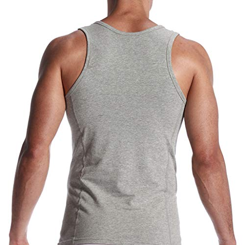 Allywit Muscle Shirts for Men Sleeveless Gym Workout Tank Tops Plus Size Gray by Allywit-Mens (Image #4)