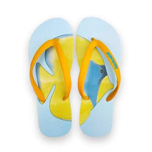 - Beachcomber Blue Water Blue Cheeked Butterfly Fish Natural Rubber Flip Flops (Medium (Kids 5,6 Ladies 7,8))