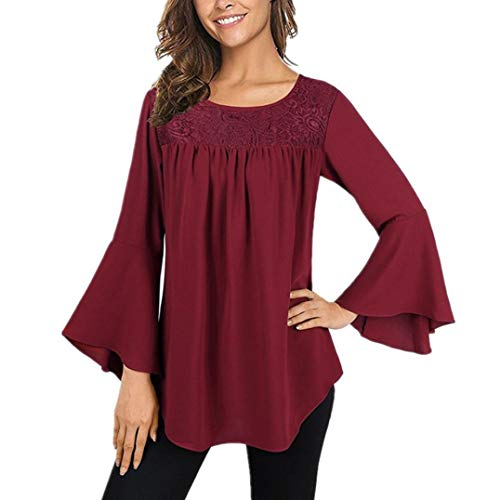 Lace Blouse,Toimoth Fashion Women's Bell Sleeve Round Neck Shirt Tops Tank Tops(Wine,S)