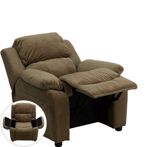 (Deluxe Heavily Padded Contemporary Brown Microfiber Kids Recliner with Storage Arms)