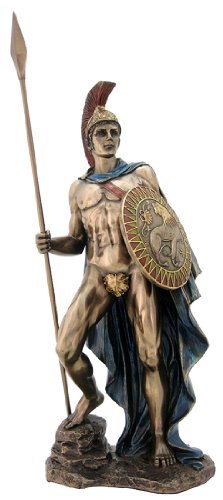 Roman God Mars Sculpture - Greek God Ares - H: 12.25 Inch - God of War and the Military Statue