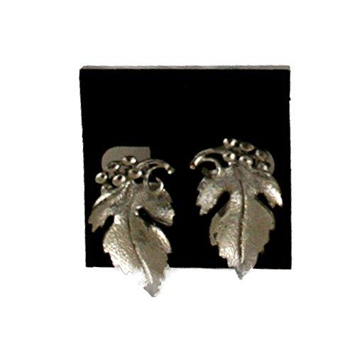 Lisner Silvertone Grapevine Leaf Vintage Clip Earrings