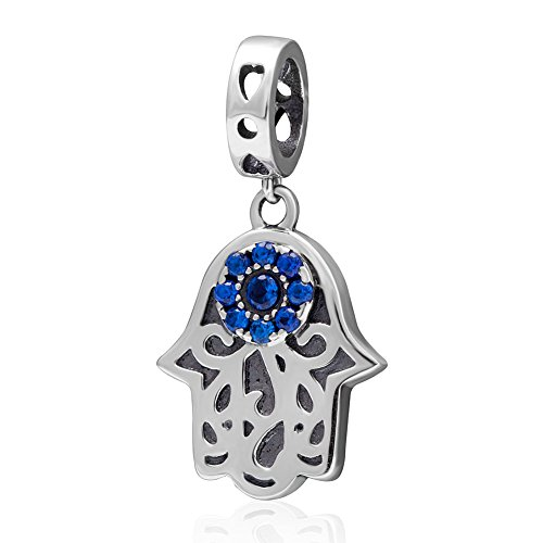 925 Sterling Silver Blue Birthstone Evil Eye Hamsa Hand Dangle Beads Fit (Hand Dangle)