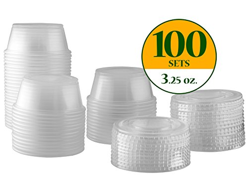 Plastic Disposable Portion Cups Souffle Cups with Lids (Pack of 100, 3.25 oz) (Side Lid)