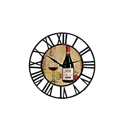 Toright Farm House Wall Clock with Wine Chateau Design Theme Black and Iron Frame Shabby Chic Style Home Decoration Wooden and Metal Round 16 inch Wall Clock