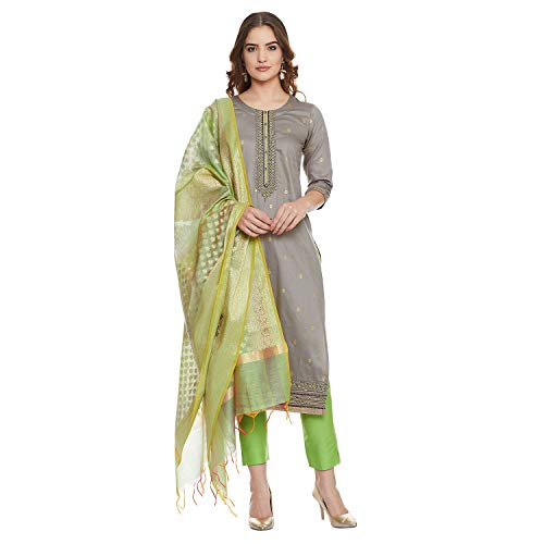 PinkShink Women's Readymade Grey and Green Pure Cotton Indian/Pakistani Salwar Kameez with Banarasi Silk Dupatta (XL)
