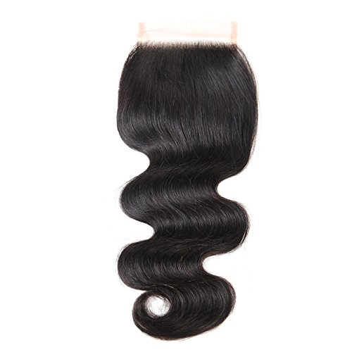 Queen Mary Hair Brazilian Body Wave Lace Closure Free Part 4x4inch Lace Top Closure Body Wave Wavy Unbleached Knots Natural Black (8 Inch Body Wave)