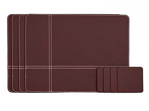 Italian Set Leather (Nikalaz Set of Dark Burgundy Placemats and Coasters, 4 table mats and 4 coasters, dining table place mats 15.7'' x 11.8'' and coasters 3.9'' x 3.9'', Italian recycled leather, Dining table set)