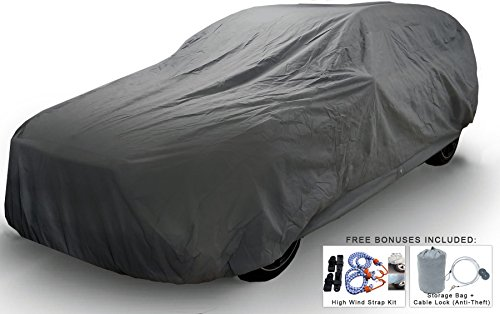 Weatherproof SUV Car Cover For Toyota Land Cruiser 1998-2018 - 5L Outdoor & Indoor - Protect From Rain, Snow, Hail, UV Rays, Sun - Fleece Lining - Anti-Theft Cable Lock, Bag & Wind Straps