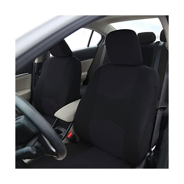 FH Group Universal Fit Full Set Flat Cloth Fabric Car Seat Cover GrayBlack FH FB050114 Fit Most Car Truck Suv Or Van