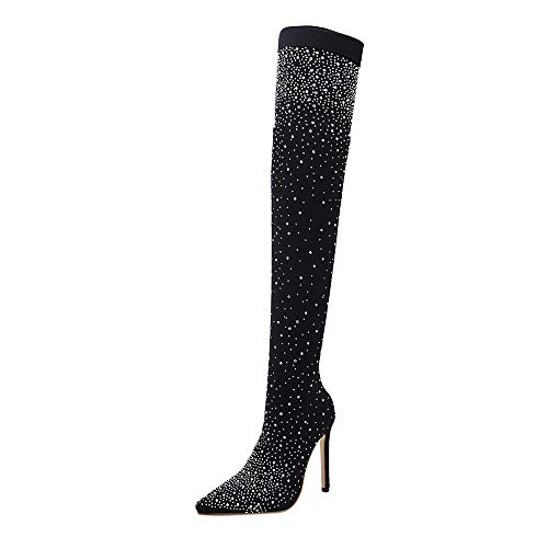 Xinantime Sexy Women Flashing Crystal Drill Elastic Boots Pointed Toe High Heels Stockings Over-The-Knee Boots ()