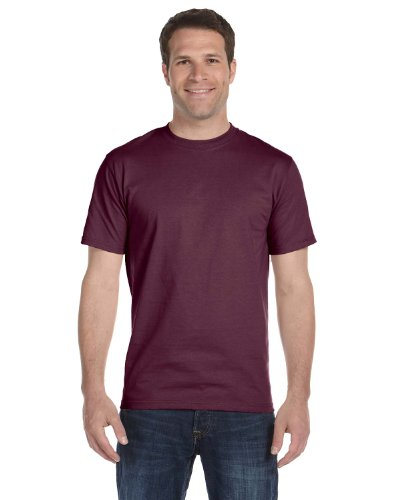 Hanes Ultimate Short Sleeve Beefy-T Shirt Cotton in Maroon - - In Jersey New Outlet Store