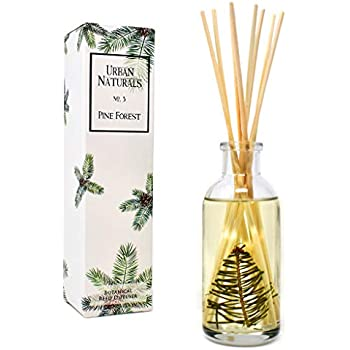 Urban Naturals Pine Forest Reed Diffuser Oil with Bamboo Reed Sticks | Pine Needles, Eucalyptus, Juniper Berries & Balsam Fir | Christmas Tree Scent | Holiday Decor with Real Frasier Fir Branches