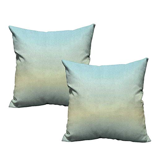 RuppertTextile Living Room Sofa Hug Pillowcase Teal Defocused Abstract Design in The Center Blurred Color Elements Sky Blue Like Artwork Mildew Proof W16 xL16 2 pcs